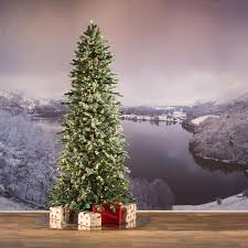 7ft pre lit frosted dover blue spruce slim feel real artificial