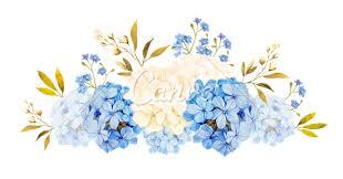 blue white jadmine hydrangea rose flowers wedding watercolor b