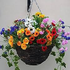 hanging flowers artificial flowers hanging planter out door mixed flowers