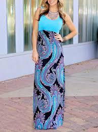 maxi dress blue paisley skirt