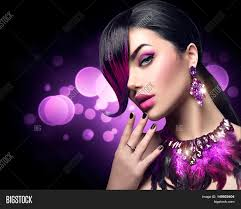 halloween fashion background images beautiful fashion woman with purple dyed hair fringe