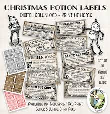 Free Printable Halloween Potion Labels by Christmas Potion Apothecary Bottle Labels Jar Tags Vintage Style