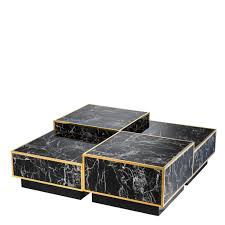 eichholtz black marble gold trim bi level modular coffee table