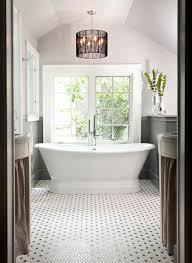 Concrete Floor Bathroom - freestanding tub bathroom transitional with honeycomb tile floor