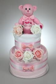 baby two tier nappy cake new born baby shower gift with sock