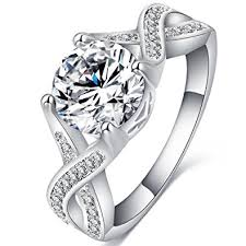 White Gold Cz Wedding Rings by Amazon Com Fendina Jewelry Womens Luxurious 18k White Gold Plated
