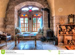 with a fireplace against a window stock photo image 56238390