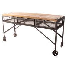 tribeca industrial mesh drawer caster wheel desk console table