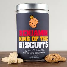 personalised tin with biscuits king of the biscuits