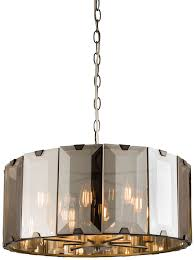 large smoked glass pendant light clooney large 8 light pendant in slate grey with smoked glass 61294