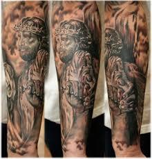full sleeve unique religious tattoo designs for men tattoo love