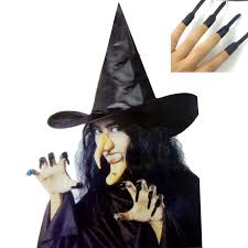 Halloween Supplies Fancy Halloween Costumes Prop Witch Hat Fake Nail Nose Chin