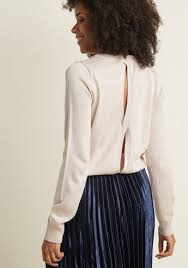 sweater with metallic sweater with open back in pink modcloth