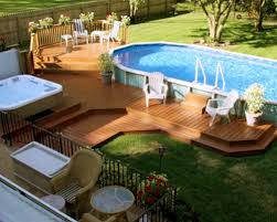 Backyard Pool Ideas Pictures Decorating Attractive Above Ground Pool Deck For Enjoyable Home