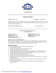 alluring resume retail sales associate job description with sales