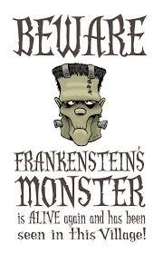 beware frankenstein u0027s monster poster spine chilling signs