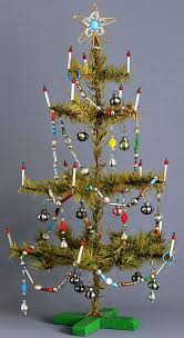 goose feather tree with glass candles original ornaments and