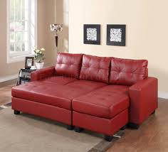 sectional sofa set in red bonded leather match pu