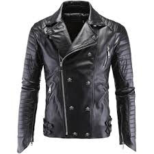 mens black leather motorcycle jacket online buy wholesale leather fitted jacket from china leather