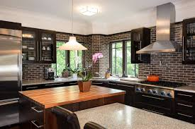 design ideas built in eclectic kitchen with faux brick wall and
