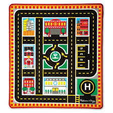 melissa u0026 doug round the city rescue rug with 4 wooden vehicles