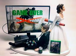 wedding cake toppers and groom custom wedding cake topper gamer cod and groom