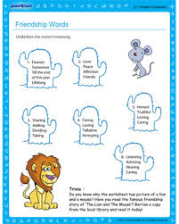 friendship words english vocabulary worksheet for 2nd grade kids