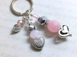 baby shower keychain favors pink quartz gemstone and silver heart keychain pink wedding favor