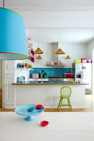 interior colorful home decor ideas for kitchen with white wall