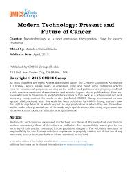 nanotechnology as a next generation therapeutics hope for cancer
