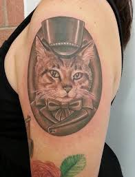 mr lucky victorian cat tattoo by nate beavers tattoos