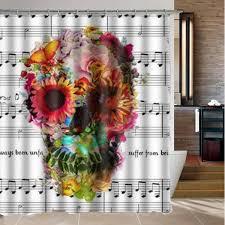 Skull Shower Curtain Hooks 180x180cm 3d Waterproof Halloween Colorful Skull Polyester Shower