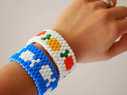 make beads bracelet images Diy fish or fruit perler bead stretch bracelet pink stripey socks JPG