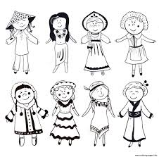 diverse kids usa diversity cultural coloring pages printable