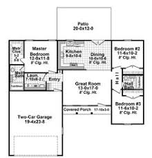 3 Bedroom Floor Plans With Garage Ranch Homeplan 45476 Has 1258 Square Feet Of Living Space 3