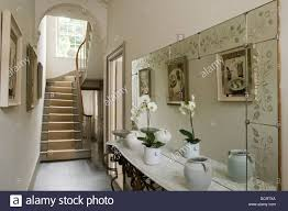 Georgian Interior Decoration Decorative Mirror And Antique French Wrought Iron Console In