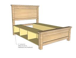 Bed Frame Plans With Drawers White Farmhouse Storage Bed With Storage Drawers Diy Projects