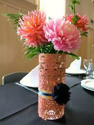 Cylinder Vase Centerpiece by Centerpiece Doily Lace Spraypaint Ribbon Bouquet Wedding Yo