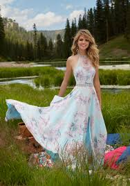 floral printed chiffon prom dress style 99038 morilee