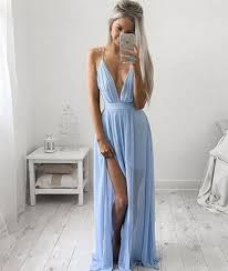 light blue formal dresses a line v neck light blue prom dress with slit light blue formal