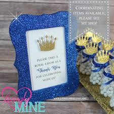 royal prince baby shower favors 4 x 6 frame glitter royal blue favor table sign glitter gold