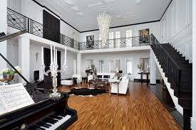 Luxurious House Design By Russian Architects Black And White - Interior design black and white living room