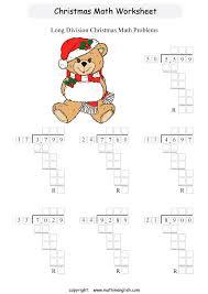 printable x mas division worksheet for grade 5 students