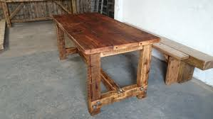 rustic style dining table and two benches any size quality