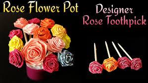 Miniature Flower Vases Miniature Rose Flower Pot Rose Top Toothpick For Valentine U0027s Day