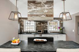 reclaimed wood kitchen backsplash