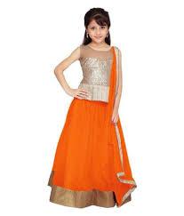 lancha dress buy fab menia orange net colour fancy kids wear semistiched