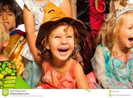 ten kids in halloween costumes together isolated stock photo