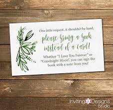 Baby Shower Invitation Wording Bring Books Instead Of Card Greenery Baby Shower Book Request Card Green Baby Shower