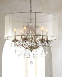 Crystal Drum Shade Chandelier Crystal Chandelier With Sheer Drum Shade Lightings And Lamps